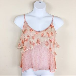 Free People Pink Ruffle Tank Top Size Large